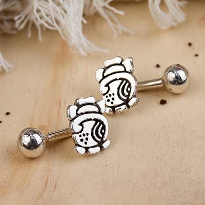 Sterling silver cufflinks, 'Ancient Culture' - Handmade Sterling Silver Cufflinks from Mexico