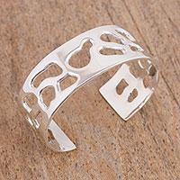 Sterling silver cuff bracelet, 'Modern Enigma' - Handcrafted Sterling Silver Cuff Bracelet from Mexico