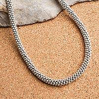 Sterling silver beaded necklace, 'Elegant Vanguard' - Sterling Silver Beaded Necklace from Mexico