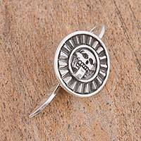 Sterling silver bookmark, 'Pre-Hispanic Tale' - Sterling Silver Skull Bookmark from Mexico