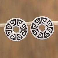 Sterling silver button earrings, 'Ball Game' - Circular Sterling Silver Button Earrings from Mexico