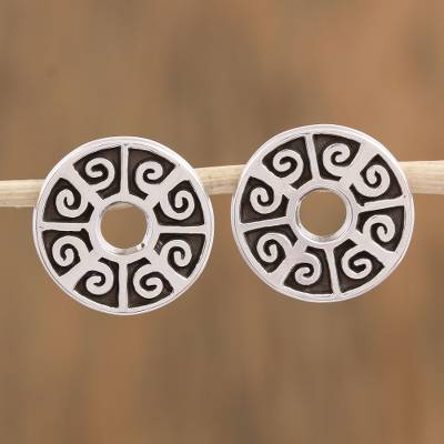 Sterling silver button earrings, 'Ancient Ball Game' - Circular Sterling Silver Button Earrings from Mexico