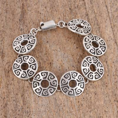 Sterling silver link bracelet, 'Ancient Ball Game' - Circular Sterling Silver Link Bracelet from Mexico