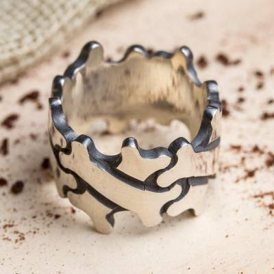 Men's sterling silver band ring, 'Bone Crosses' - Men's Sterling Silver Bone Motif Band Ring from Mexico