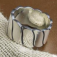 Men's sterling silver band ring, 'Shimmering Waves' - Men's Wave Motif Sterling Silver Band Ring from Mexico