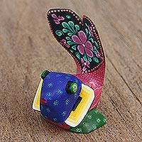 Wood alebrije figurine, 'Fanciful Fish' - Colorful Hand Crafted Copal Wood Alebrije Fish Figurine