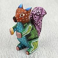 Wood alebrije sculpture, 'Magnificent Squirrel' - Floral Wood Alebrije Sculpture of a Squirrel from Mexico
