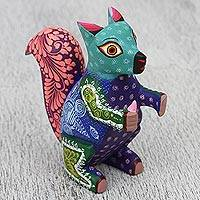 Wood alebrije sculpture, 'Delightful Squirrel' - Colorful Wood Alebrije Squirrel Sculpture from Mexico