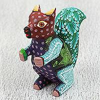 Wood alebrije sculpture, 'Wonderful Squirrel' - Colorful Wood Alebrije Sculpture of a Squirrel from Mexico