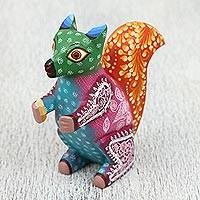 Wood alebrije sculpture, 'Lovely Squirrel' - Handcrafted Wood Alebrije Squirrel Sculpture from Mexico