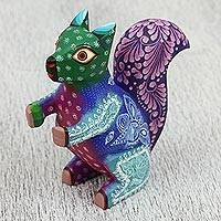 Wood alebrije sculpture, 'Sensational Squirrel' - Wood Alebrije Squirrel Sculpture Handcrafted in Mexico