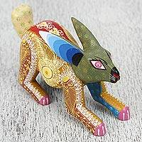 Wood alebrije sculpture, 'Racing Rabbit' - Handcrafted Wood Alebrije Rabbit Sculpture from Mexico