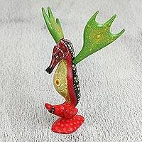 Wood alebrije sculpture, 'Elegant Seahorse' - Floral Wood Alebrije Seahorse Sculpture from Mexico