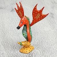 Wood alebrije sculpture, 'Fantastic Seahorse' - Floral Wood Alebrije Sculpture of a Seahorse from Mexico