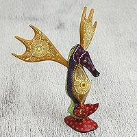 Wood alebrije sculpture, 'Splendid Seahorse' - Floral Wood Alebrije Seahorse Sculpture Crafted in Mexico