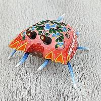Wood alebrije sculpture, 'Splendid Crab' - Hand-Painted Wood Alebrije Crab Sculpture from Mexico