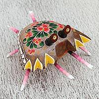 Wood alebrije sculpture, 'Charming Crab' - Hand-Painted Wood Alebrije Sculpture of a Crab from Mexico