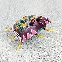 Wood alebrije sculpture, 'Elegant Crab' - Handcrafted Wood Alebrije Sculpture of a Crab from Mexico
