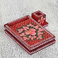 Wood message center, 'Strawberry Dreams' - Floral Wood Message Center in Red from Mexico