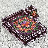 Wood notepad, 'Blooming Dream' - Floral Wood Notepad in Purple from Mexico