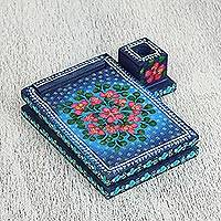 Wood notepad, 'Blueberry Dreams' - Floral Wood Notepad in Blue from Mexico