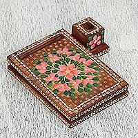 Wood message center, 'Chocolate Dreams' - Floral Wood Message Center in Brown from Mexico