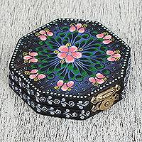 Wood mirror compact,'Floral Marvel' - Floral Wood Mirror Compact from Mexico