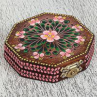 Wood mirror compact, 'Floral Marvel in Brown' - Floral Wood Mirror Compact in Brown from Mexico