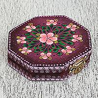 Wood mirror compact, 'Floral Marvel in Purple' - Floral Wood Mirror Compact in Purple from Mexico
