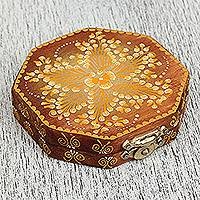 Wood mirror compact 'Light of the Day' - Handcrafted Wood Mirror Compact with Floral Motifs