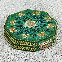 Wood mirror compact, 'Lime Flowers' - Floral Wood Mirror Compact in Green from Mexico