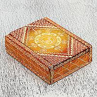 Wood business card holder, 'Mandarin Beauty' - Wood Business Card Holder in Orange from Mexico