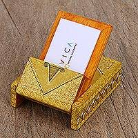Wood business card holder, 'Oaxaca Nature' - Hand-Painted Wood Business Card Holder from Mexico