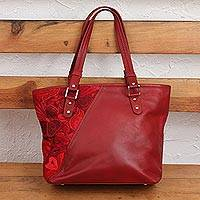 Cotton accent leather shoulder bag, 'Floral Passion in Crimson' - Cotton Accent Leather Shoulder Bag in Crimson from Mexico