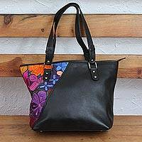 Cotton accent leather shoulder bag, 'Floral Passion' - Floral Cotton Accent Leather Shoulder Bag from Mexico