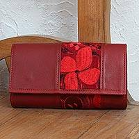 Cotton accent leather baguette, 'Floral Passion in Crimson' - Floral Cotton Accent Leather Baguette in Crimson from Mexico