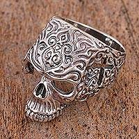 Men's sterling silver ring, 'Crossed Skull' - Men's Skull-Shaped Sterling Silver Ring from Mexico