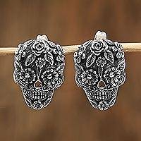 Sterling silver button earrings, 'Catrina Flowers' - Catrina Skull Sterling Silver Button Earrings from Mexico
