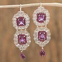 Garnet filigree dangle earrings, 'Red Coquetterie' - Garnet and Crystal Dangle Earrings from Mexico