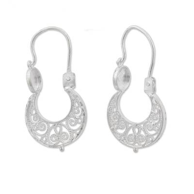 Handcrafted Sterling Silver Filigree Earrings from Mexico