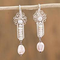 Cultured pearl filigree dangle earrings, 'Little Inchworms' - Akoya and Mabe Cultured Pearl Dangle Earrings from Mexico