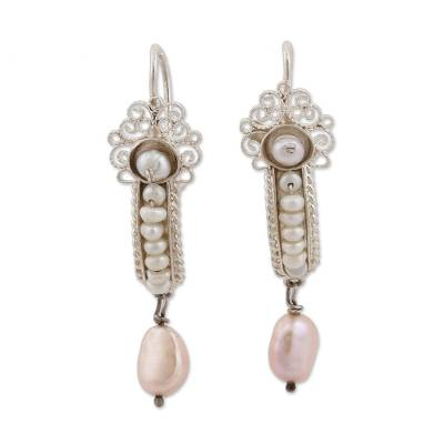 Akoya and Mabe Cultured Pearl Dangle Earrings from Mexico