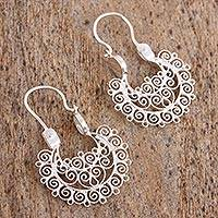 Sterling silver filigree hoop earrings, 'Ornaments of Light' - Artisan-Crafted Silver Filigree Earrings from Mexico