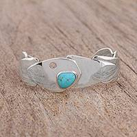 Turquoise cuff bracelet, 'Cosmos Layers' - Natural Turquoise Cuff Bracelet from Mexico