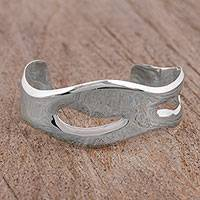 Silver cuff bracelet, 'Abstract Diffusion' - Abstract High-Polish Silver Cuff Bracelet from Mexico