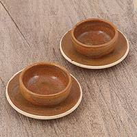 Ceramic cups and saucers, 'Village Coffee' (pair) - Ceramic Cups and Saucers in Brown (Pair) from Peru