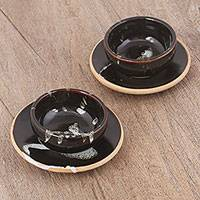 Ceramic cups and saucers, 'Village Chocolate' (pair) - Ceramic Cups and Saucers in Dark Brown (Pair) from Peru