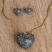 Wood jewelry set, 'Enamored Flowers in Black' - Wood Heart Jewelry Set in Black from Mexico