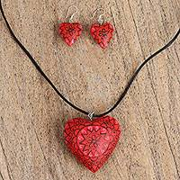Wood jewelry set, 'Enamored Flowers in Red' - Wood Heart Jewelry Set in Red from Mexico