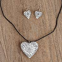 Wood jewelry set, 'Rustic Heart' - Copal Wood Hand Carved White Painted Heart Jewelry Set